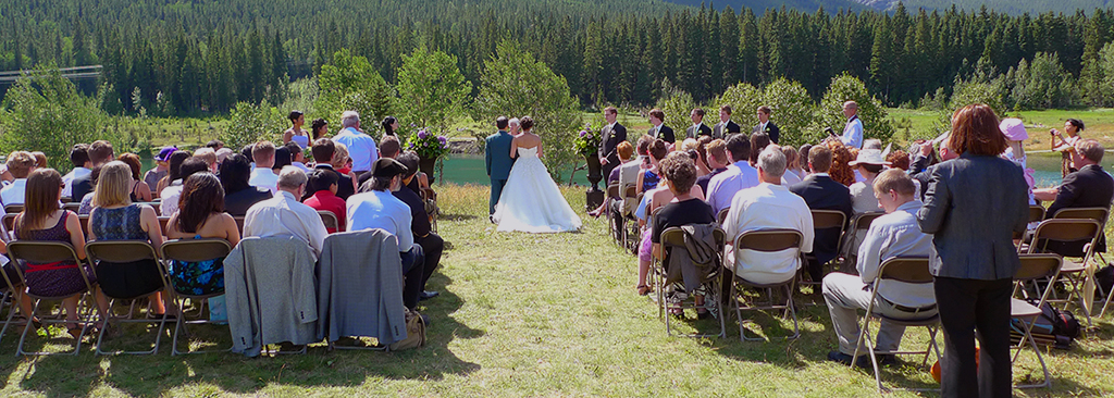 Wedding Ceremony at Quarry Lake in Canmore, Alberta, Canada with music and 2 microphones to ensure that all of your guests will hear every word